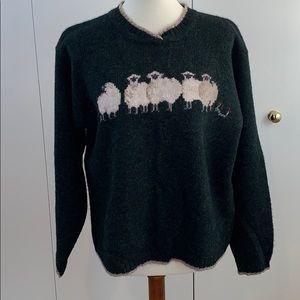 Woolrich M wool sheep sweater green tan